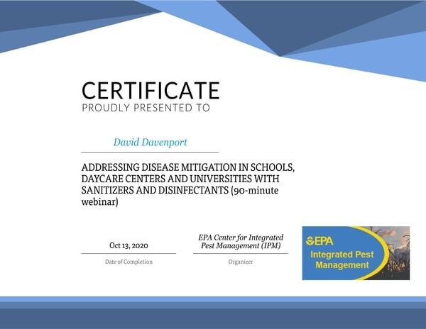 DBCM Clean certificate for Disease Mitigation